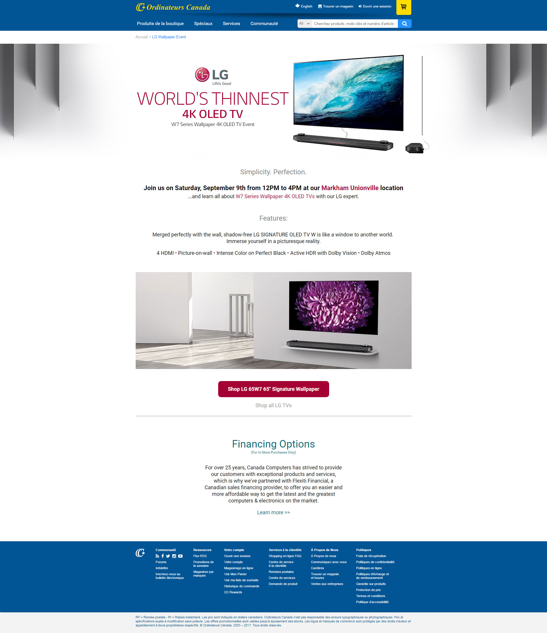 LG Electronics promotion landing page example